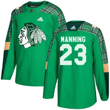Adidas Chicago Blackhawks Youth Brandon Manning Authentic Green St. Patrick's Day Practice NHL Jersey