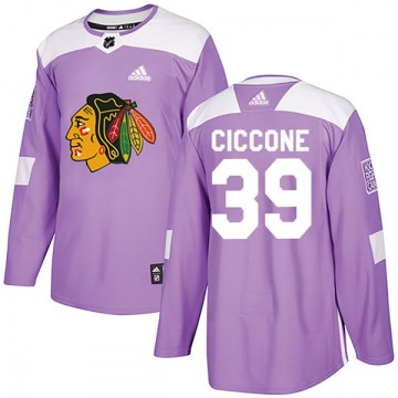 Adidas Chicago Blackhawks Youth Enrico Ciccone Authentic Purple Fights Cancer Practice NHL Jersey