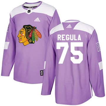 Adidas Chicago Blackhawks Youth Alec Regula Authentic Purple ized Fights Cancer Practice NHL Jersey