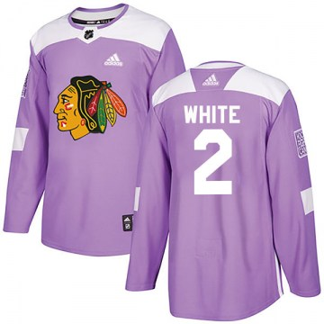 Adidas Chicago Blackhawks Youth Bill White Authentic Purple Fights Cancer Practice NHL Jersey
