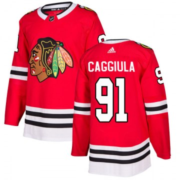 Adidas Chicago Blackhawks Men's Drake Caggiula Authentic Red Home NHL Jersey