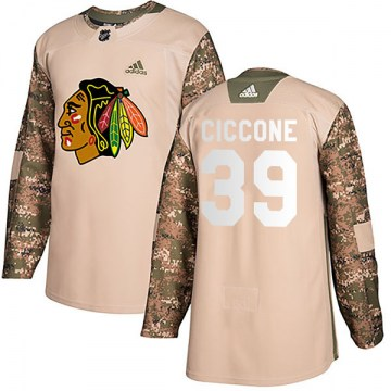 Adidas Chicago Blackhawks Youth Enrico Ciccone Authentic Camo Veterans Day Practice NHL Jersey