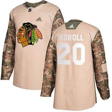 Adidas Chicago Blackhawks Youth Cliff Koroll Authentic Camo Veterans Day Practice NHL Jersey